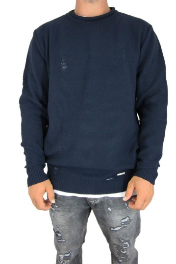Combos men's ladder knit jumper in dark blue