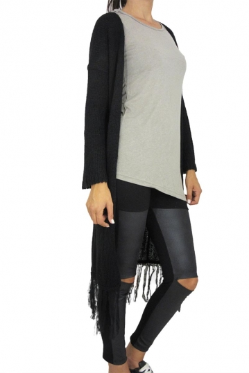 Agel Knitwear longline fringed cardigan in black