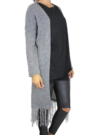 Agel Knitwear longline fringed cardigan in grey melange