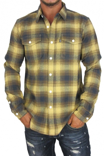Huf men's flannel shirt Heavy weight plaid mustard