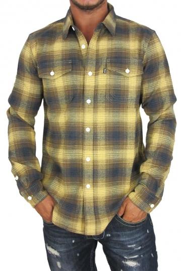 Huf ανδρικό πουκάμισο φανέλα Heavy weight καρό μουσταρδί