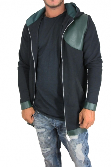 Men's longline zip hoodie Humanism in black