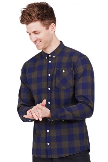 Minimum men's check shirt Delancey in racing green