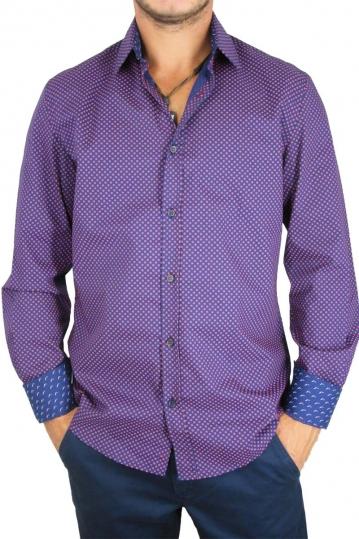 Missone men's polka dot shirt blue