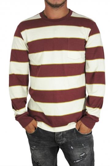 Obey men's long sleeve striped tee Battery in burgundy