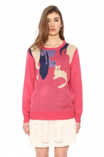 Pepaloves knit sweater pink with cats