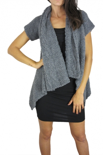 Agel Knitwear boucle knit cardigan in grey