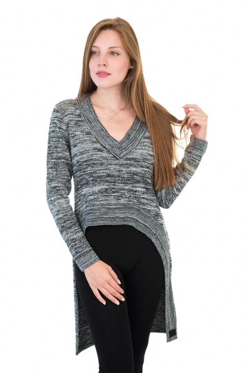 Agel Knitwear V-neck sweater charcoal marl with long back