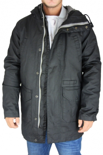 Bellfield men's 2 in 1 hooded parka jacket Pinto black