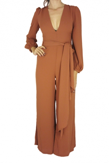Glamorous tie waist jumpsuit in rust color