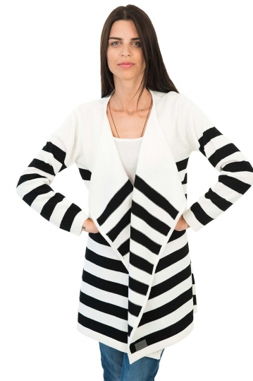 Agel Knitwear striped cardigan ecru