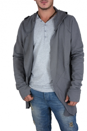 Men's lightweight longline sweat jacket grey with hood