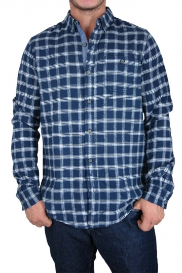 Men's blue check flannel shirt