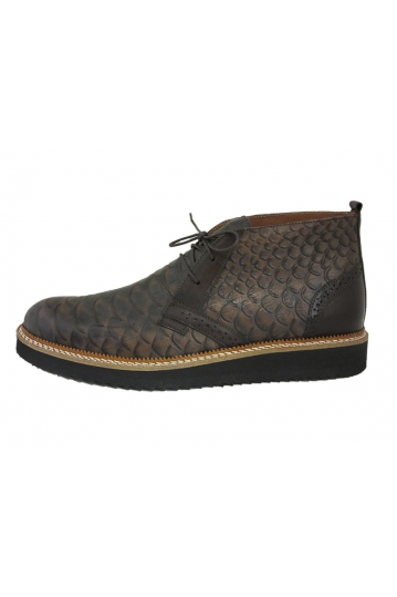 Stefan men's Brogue croco mid top leather boot brown