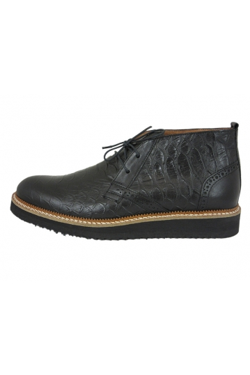 Stefan men's Brogue croco mid top leather boot black
