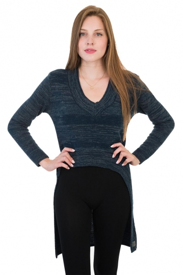 Agel Knitwear V-neck sweater blue marl with long back