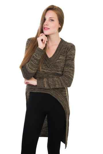 Agel Knitwear V-neck sweater tobacco marl with long back