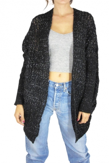 Agel Knitwear cardigan black with metallic sheen