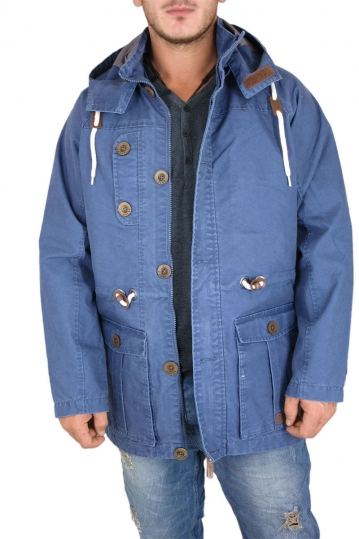 Men's lightweight hooded parka in middle blue