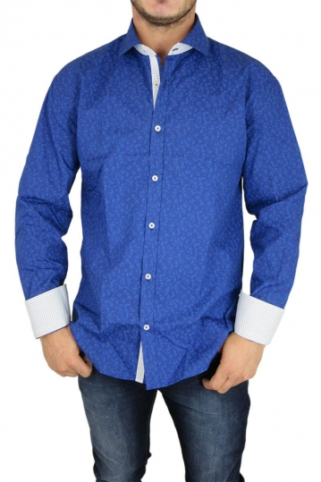 Bades Shirts men's slim fit shirt royal blue floral