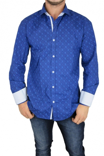 Bades Shirts men's slim fit shirt blue with paisley print