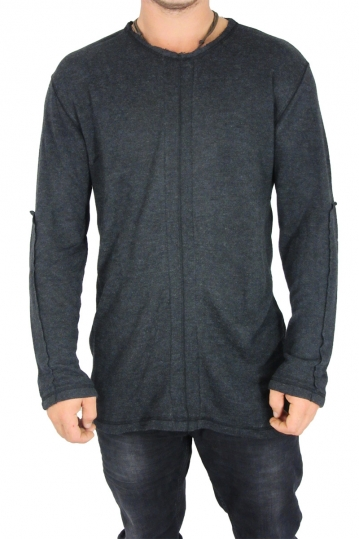 Men's longline knitted top Jason charcoal