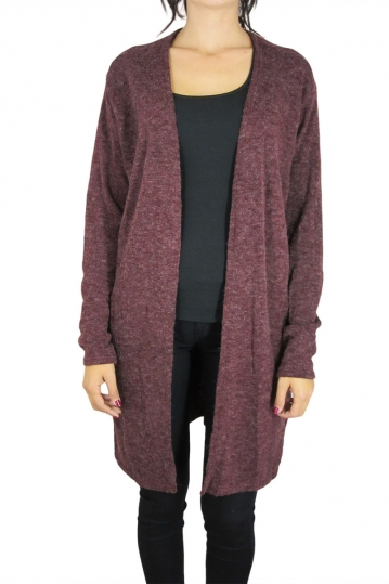 Smash longline cardigan Drona in wine marl