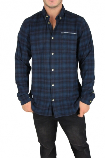 Wesc men's flannel shirt Marcelo in blue iris