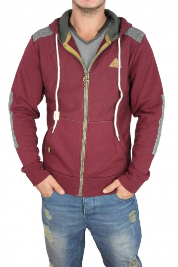 Campbell men's zip hoodie in bordeaux