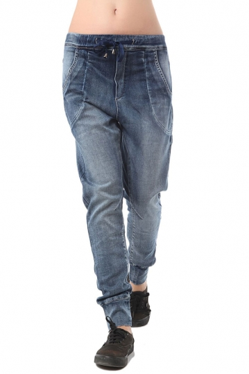 Q2 denim jogger with drawstring waist