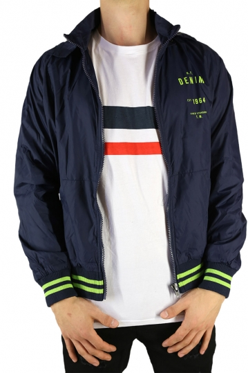 Men's nylon hooded jacket navy