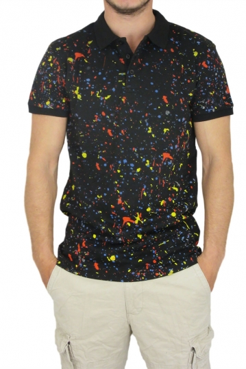 Men's pique polo shirt black with splashes