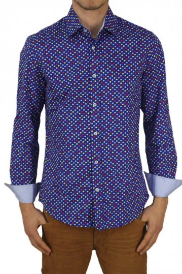 Missone men's shirt royal blue with multi polka dots