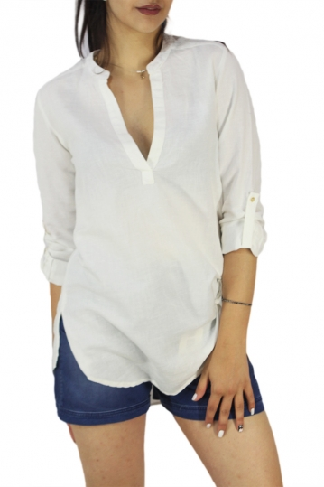 Soft Rebels tunic top Royal in off white