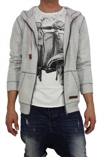 Men's zip hoodie grey-blue marl