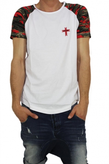 Crossover men's longline t-shirt white with camo sleeves