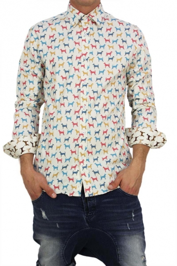 Missone men's shirt with multi dogs print