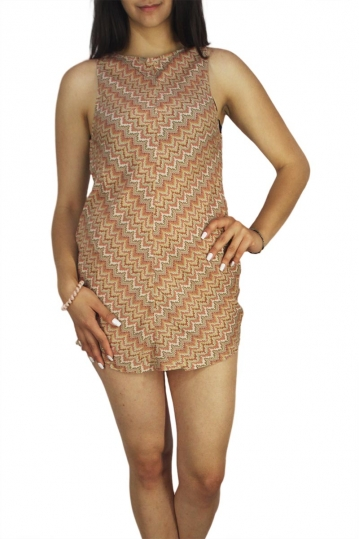 Afends sleeveless mini dress Jam crochet mustard