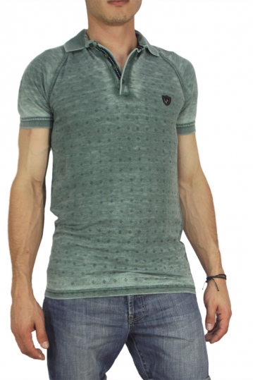 Men's polo shirt stone washed green