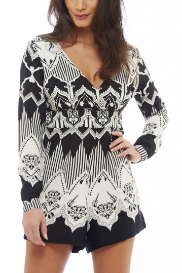 Monochrome V-neck playsuit