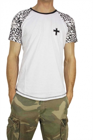 Crossover men's longline t-shirt with monochrome sleeves