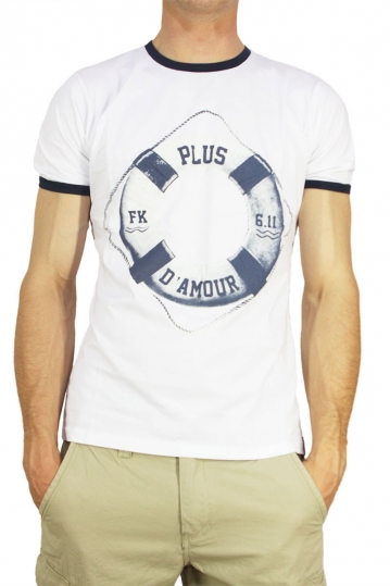 French Kick T-shirt Piu di amore λευκό