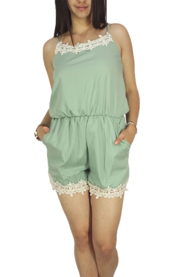 Migle + me lace detail strappy playsuit green