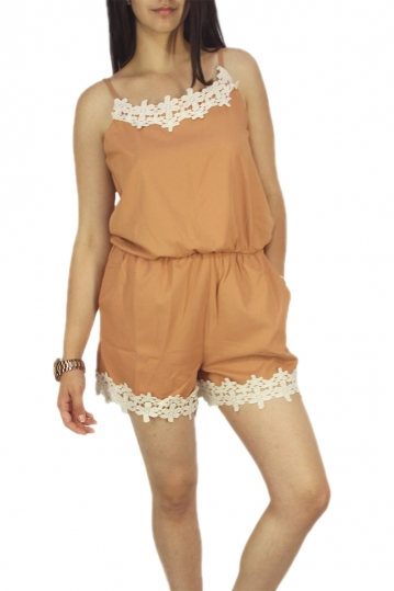 Migle + me lace detail strappy playsuit camel