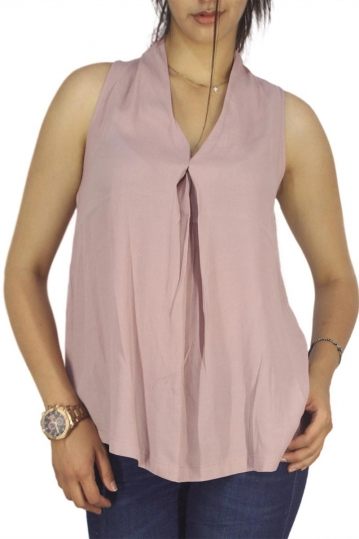 Minimum sleeveless V-neck top Cea wood rose