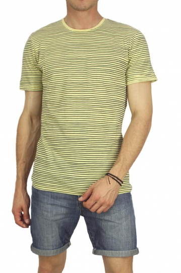 Minimum men's striped t-shirt Oxley pale banana