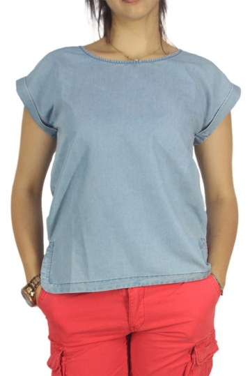 Minimum short sleeve top Wendi light blue