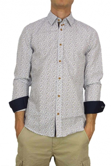 Missone men's shirt with blue-brown circle dots
