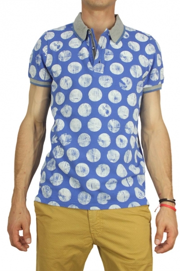 Best choice polo t-shirt blue with large white polka