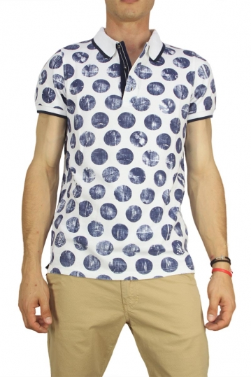 Best choice polo t-shirt white with large blue polka